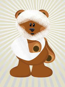 Illustration Injured Bear With Background