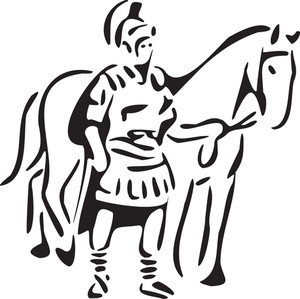Illustration Of A Ancient Greece Warrior With Horse.