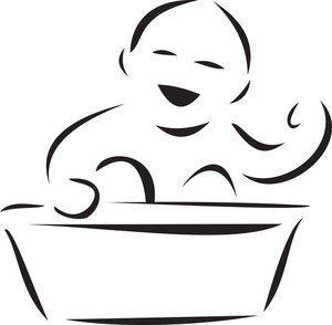 Illustration Of A Baby With Tub.