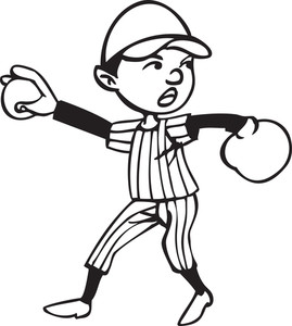 Illustration Of A Baseball Player With Ball.