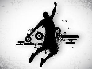 Illustration Of A Basketball Player Practicing With Ball At Court On Abstract Grungy Background