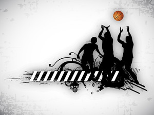 Illustration Of A Basketball Players Practicing With Ball At Court On  Abstract Grungy Background