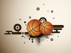 Illustration Of A Basketballs On  Abstract Grungy Background