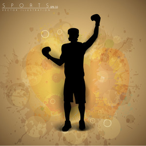 Illustration Of A Boxer In Winning Position On Colorful Abstract Grungy Background.