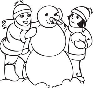 Illustration Of A Boy And Girl With Snow Man.