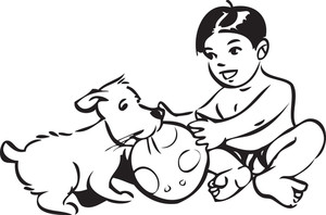 Illustration Of A Boy And Puppy With Ball.