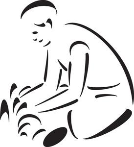 Illustration Of A Boy In Garden.