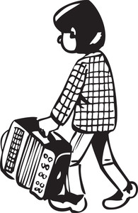 Illustration Of A Boy With Attache Case.