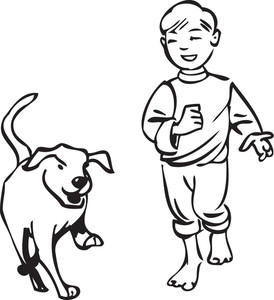 Illustration Of A Boy With Dog.