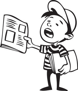 Illustration Of A Boy With Newspaper.