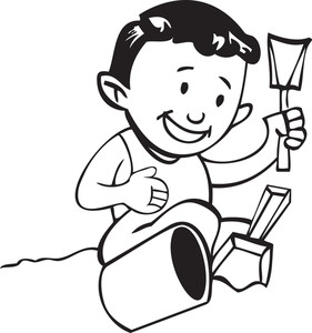 Illustration Of A Boy With Shovel And Bucket.