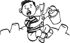 Illustration Of A Boy With Spoon And Bucket.