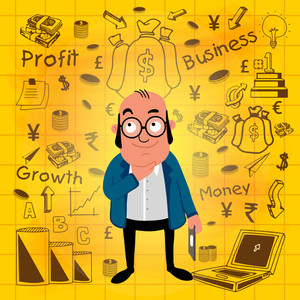Illustration of a business man with various infographic elements on yellow background.