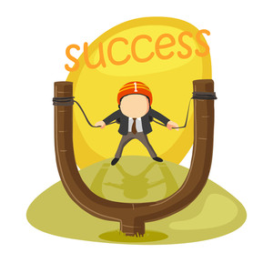 Illustration of a businessman in slingshot for start up success.