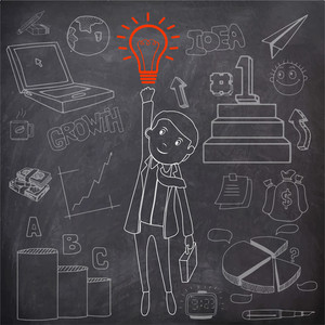 Illustration of a businessman with bag and bulb for idea concept and various infographic elements created by white chalk on blackboard background.