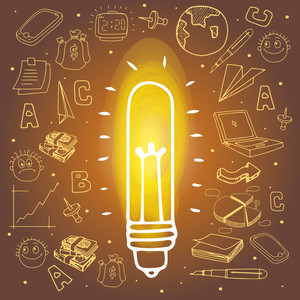 Illustration of a CFL for Idea concept with various business infographic elements.