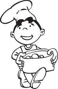 Illustration Of A Child Chef With Food Pot.