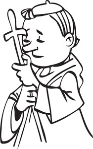 Illustration Of A Church Father Holding Cross.