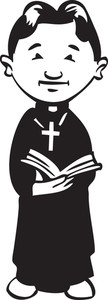 Illustration Of A Church Father With Bible.