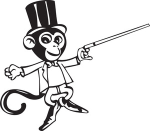 Illustration Of A Circus Monkey With A Stick.