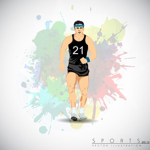 Illustration Of A Confident Athlete Getting Ready For Race Against Grungy Color Splash Background.