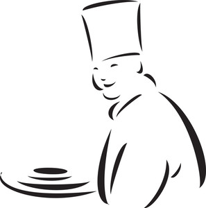 Illustration Of A Cook Holding Food Try.