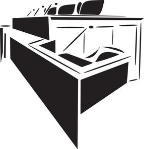 Illustration Of A Court Room.