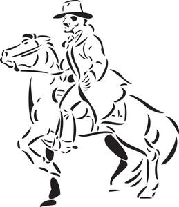 Illustration Of A Cowboy Riding Horse.