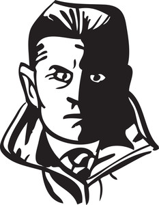 Illustration Of A Detective Man Face.