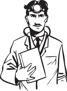 Illustration Of A Doctor With Headlight And Stethoscope.
