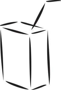 Illustration Of A Drink Box With Straw.