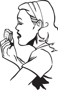Illustration Of A Eating Lady.