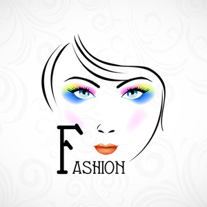 Illustration Of A Fashionable Girl With Bright Makeup On Floral Decorated Background