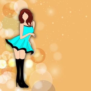 Illustration Of A Fashionable Young Girl On Shiny Abstract Background