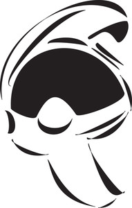 Illustration Of A Fighter Pilot Helmet In Black And White Color.