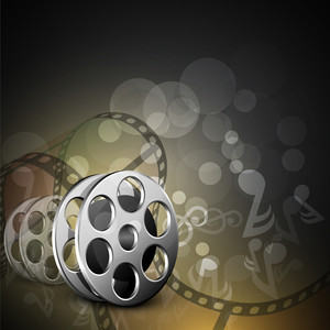 Illustration of a film stripe or film reel on shiny musical notes background