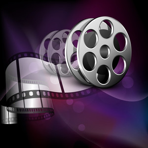 Illustration of a film stripe or film reel on shiny purple movie background
