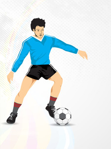 Illustration Of A Football Player With Shiny Soccer Ball On Grey Background.