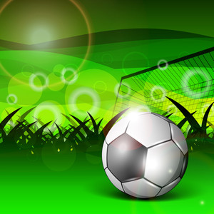 Illustration Of A Football Stadium With Glossy Soccer Ball And Goal Post On Nature Background.