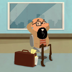 Illustration of a funny beard business man sitting on a chair with briefcase.