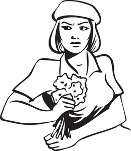 Illustration Of A Girl Holding Flowers.