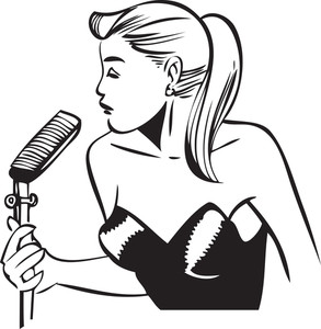 Illustration Of A Girl In Microphone.
