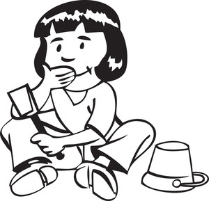 Illustration Of A Girl With Brush And Bucket.