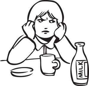 Illustration Of A Girl With Mug And Milk Bottle.
