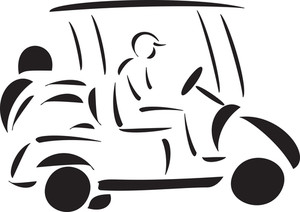 Illustration Of A Golf Cart With Man.
