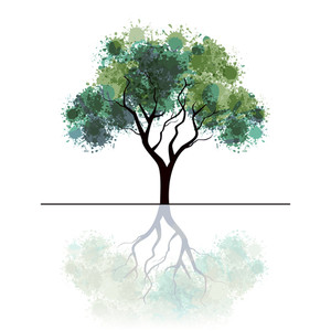 Illustration Of A Green Tree With Grungy Effects And Mirror Image Isolated On White Background.