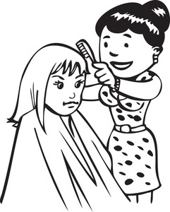 Illustration Of A Hairdresser With A Girl.