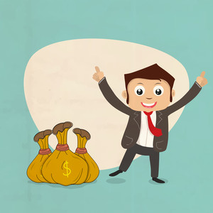 Illustration of a happy dancing businessman with money bag on stylish background.
