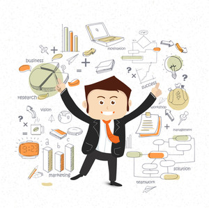 Illustration of a happy dancing businessman with various business infographic elements for your print