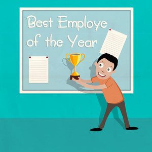 Illustration of a happy man holding Best Employe of the Year trophy on stylish background.